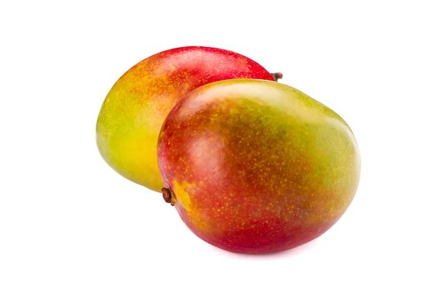 Manghi tropicali freschi isolati su fondo bianco