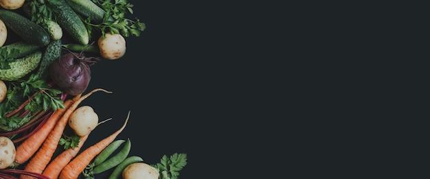 Verdure fresche su sfondo nero banner vista dall'alto spazio per il testo alimenti biologici sani healthy