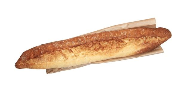 Baguette appena sfornata su carta artigianale isolata su sfondo bianco, vista dall'alto