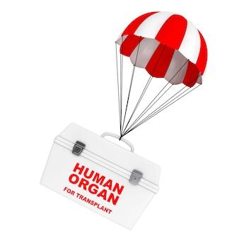 Scatola frigo per il trasporto di organi di donatori umani che volano su paracadute rosso e bianco su sfondo bianco. rendering 3d.