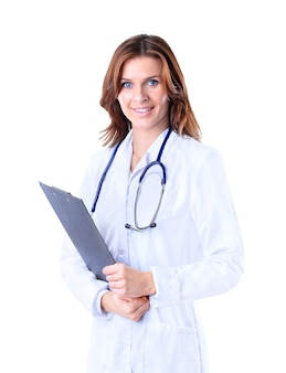 Dottoressa amichevole. isolato su uno sfondo bianco