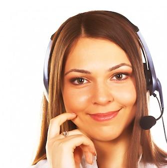 Un amichevole segretaria / operatore telefonico