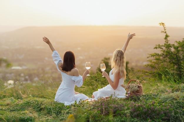 Amici che bevono vino a un picnic in un campo