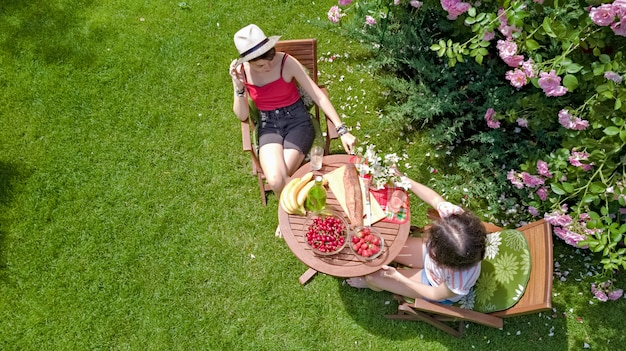 Gli amici che mangiano insieme all'aperto nel giardino estivo, le ragazze hanno pic-nic nel parco, vista aerea del tavolo con cibo e bevande dall'alto