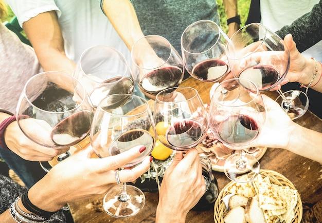 Le mani degli amici brindano con un bicchiere di vino rosso e si divertono all'aperto a fare il tifo con degustazione di vini