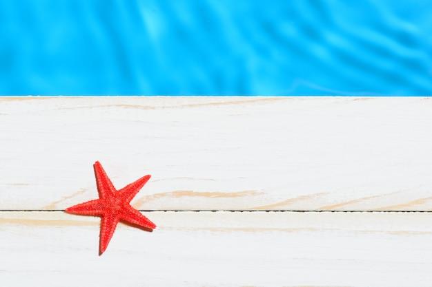 Dall'alto colpo di stella di mare sdraiato sulla tavola di legno sopra l'acqua della piscina