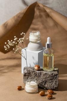 Disposizione vista frontale del prodotto naturale di argan