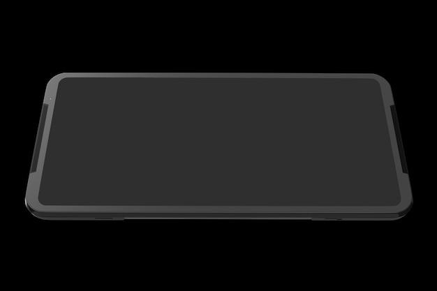 Vista frontale dello smartphone nero con il concetto di schermo vuoto del gioco mobile