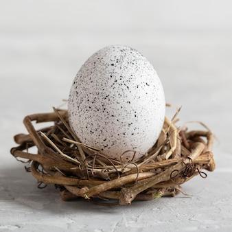 Vista frontale dell'uovo per la pasqua nel nido dell'uccello