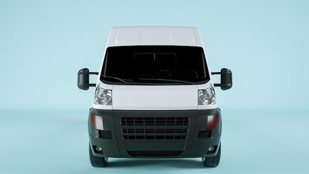 Vista frontale del vagone merci per il mockup di visualizzazione. rendering