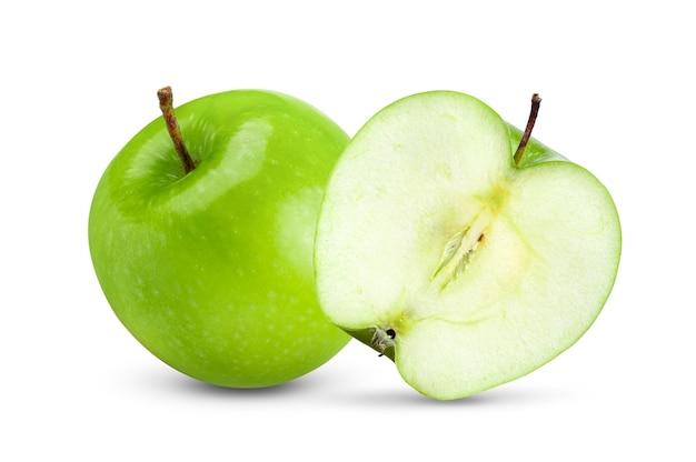 Vista frontale delle mele verdi