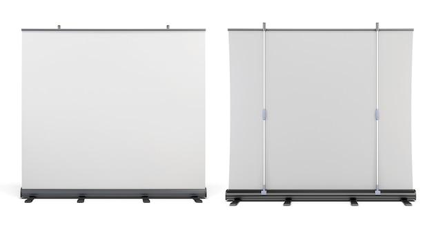 Vista frontale e vista posteriore degli schermi portatili per presentazioni rendering 3d.