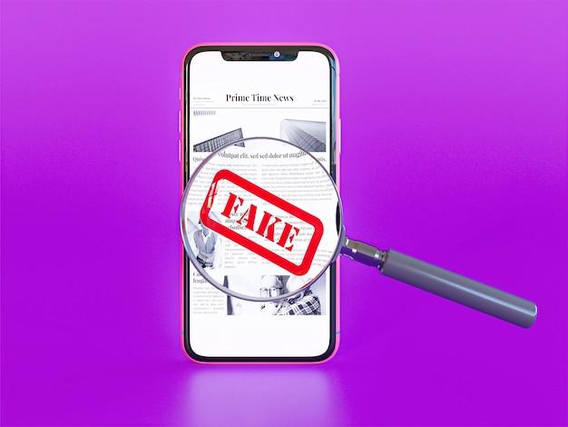 Vista frontale dello smartphone con fake news e lente d'ingrandimento