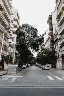 Vista frontale della strada in città con edificio e strisce pedonali