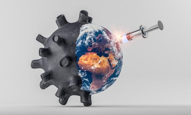 Vista frontale di una siringa che vaccina il pianeta terra contro il covid-19 per evitare la crisi sanitaria ed economica; illustrazione 3d