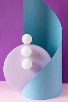Vista frontale di tre palline da ping pong