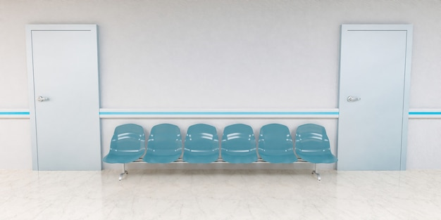 Vista frontale delle sedie in attesa nel corridoio dell'ospedale con porte sui lati