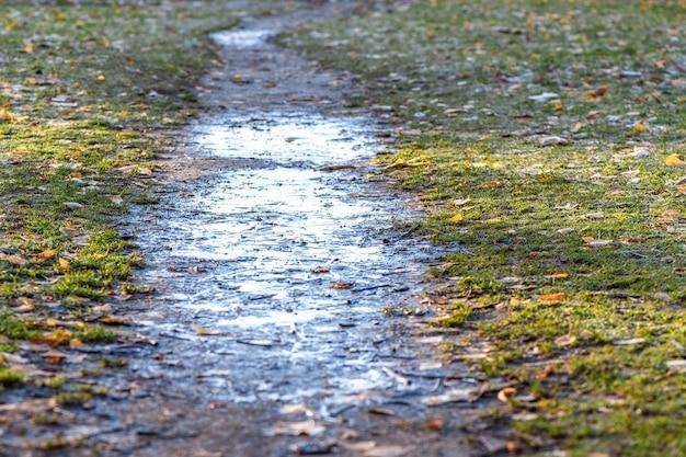 Pozzanghera sporca congelata sul sentiero al mattino dopo il primo gelo notturno.