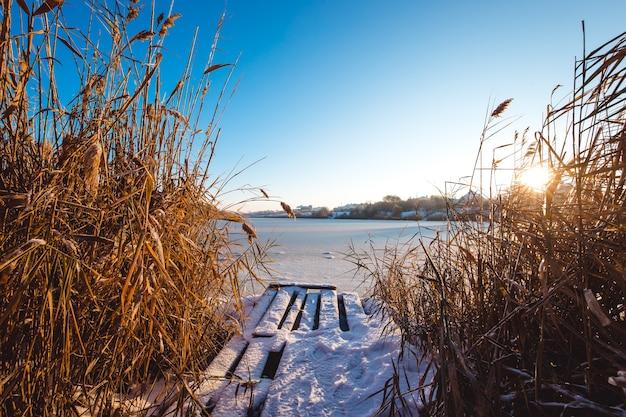 Lago ghiacciato in inverno. luce del primo mattino.