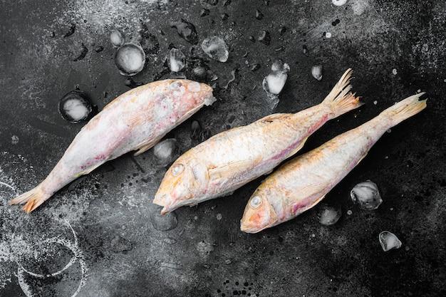 Set di pesce surgelato, su sfondo di tavolo in pietra scura nera, vista dall'alto piatta, con spazio per la copia