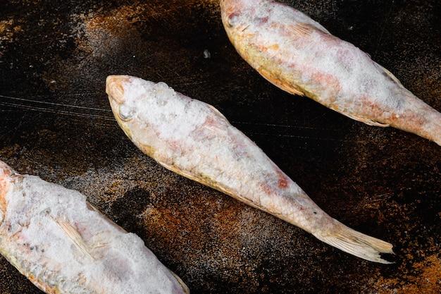 Insieme congelato del pesce del sopramoglio, sul vecchio fondo rustico scuro della tavola