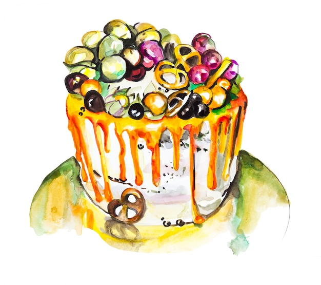 Torta alla frutta con meringa, disegno ad acquerello