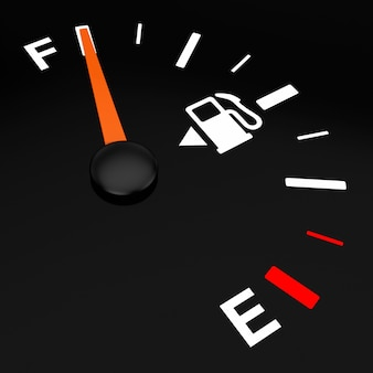 Indicatore del cruscotto del carburante che mostra un serbatoio pieno su sfondo nero. rendering 3d