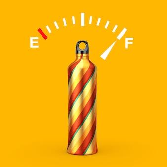 Indicatore dell'indicatore del cruscotto del carburante che mostra un serbatoio pieno vicino al modello di bottiglie per sport acquatici in alluminio di colore del vortice su uno sfondo giallo. rendering 3d