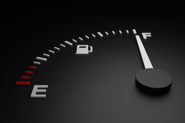 Indicatore livello carburante. progettazione artistica 3d. rendering 3d.