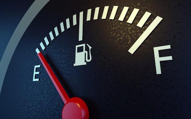 Indicatore livello carburante con un ago rosso che indica vuoto.