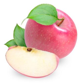 Fuji apple isolato su bianco con percorso di clipping.
