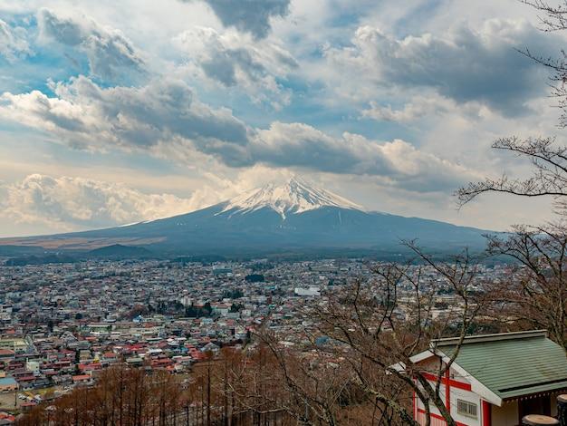 Paesaggio del giappone della montagna di fuji a kawaguchiko