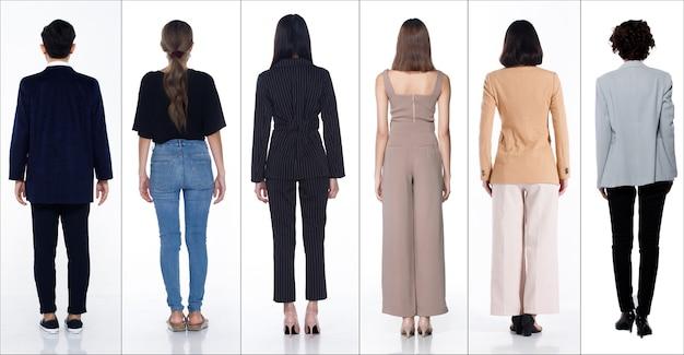 Figura intera lunghezza del corpo scatto di donne asiatiche uomo in molte carriere di diversità come persone maschera, stile di vita casual, uomo d'affari e donna d'affari, stand torna indietro vista, sfondo bianco isolato