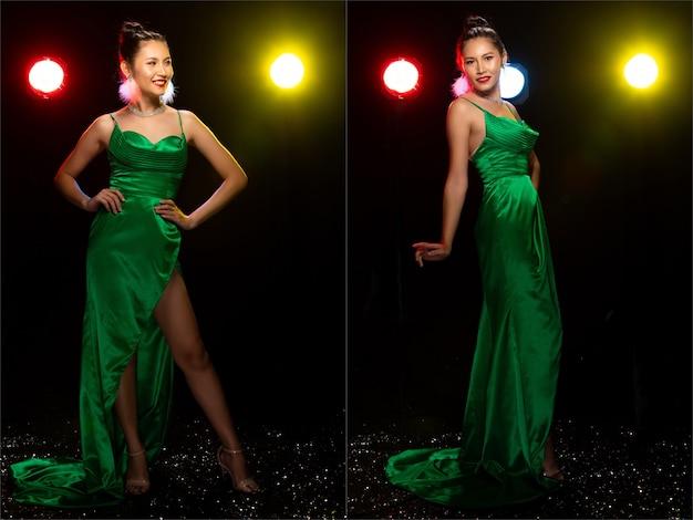 Figura intera di una donna asiatica transgender indossa un bellissimo abito lungo da sera, alzati in piedi e recita in molte pose su scarpe con tacco alto su luci posteriori colorate, pacchetto di gruppo di collage di illuminazione da studio.