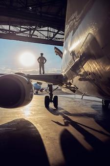 Ritratto a figura intera del motore e del carrello di atterraggio di aerei passeggeri con pilota nell'ala isolato sullo sfondo del sole