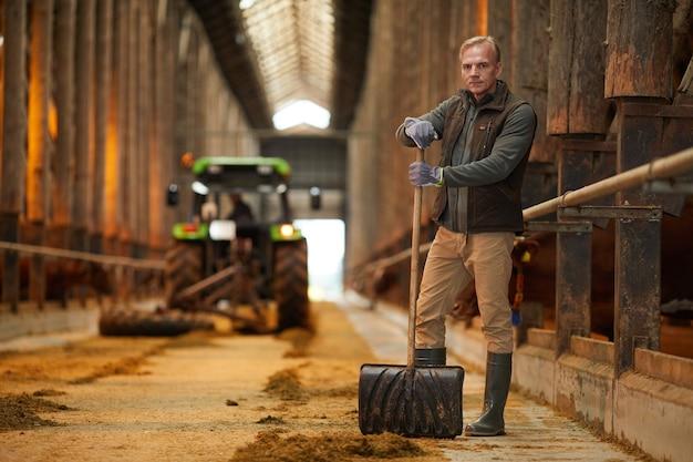 Ritratto integrale del lavoratore agricolo maturo che esamina macchina fotografica mentre pulisce la stalla della mucca al ranch della famiglia, spazio della copia