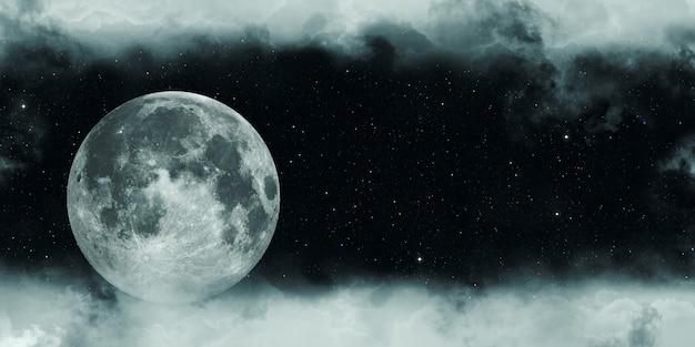 Luna piena in una notte nuvolosa