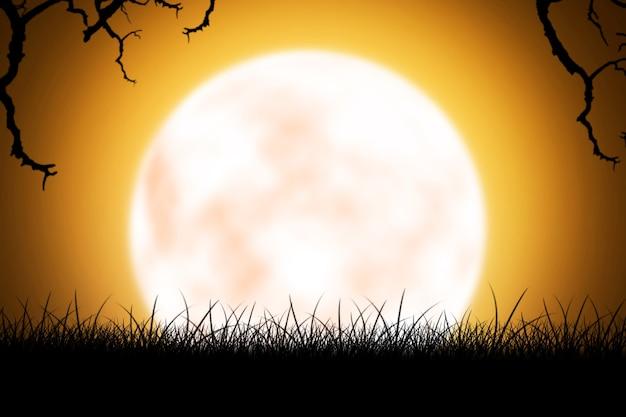Luna piena con nuvole scure nella notte. concetto di halloween