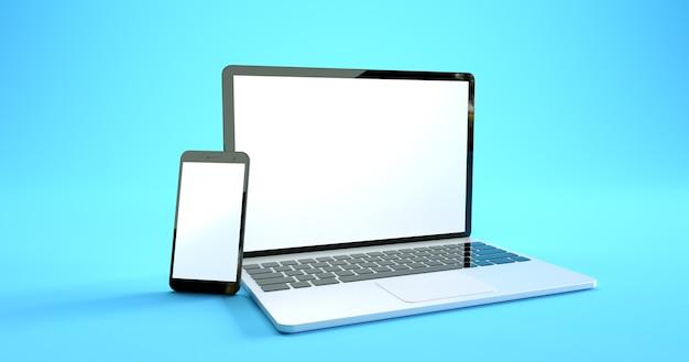 Design mockup per smartphone e laptop a schermo intero. set di dispositivi digitali Foto Premium