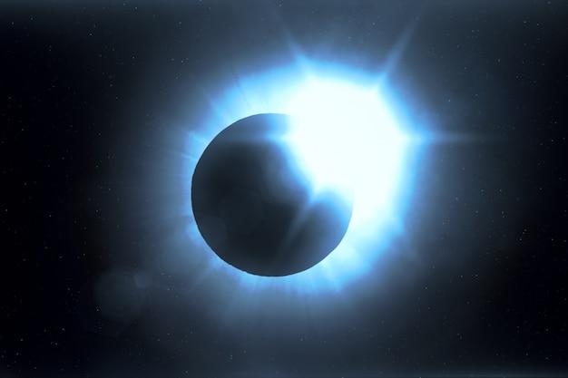 Eclissi solare completa. la luna copre principalmente il sole visibile creando un effetto anello di diamanti. questo fenomeno astronomico può essere visto come un segno della fine del mondo. illustrazione 3d