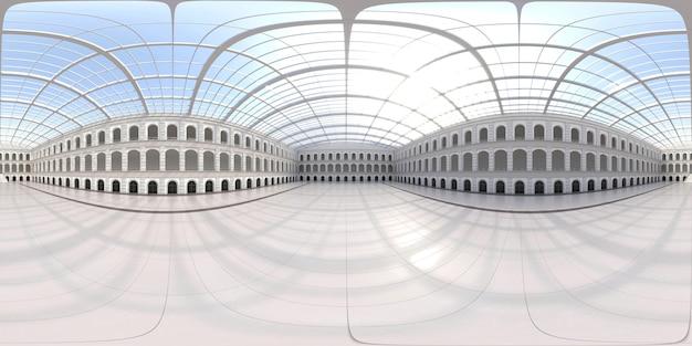 Panorama hdri sferico completo a 360 gradi di spazio espositivo vuoto. sfondo per mostre ed eventi. pavimento piastrellato. marketing mock up. illustrazione rendering 3d