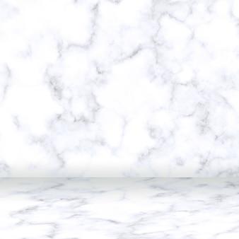 Sfondo di visualizzazione del prodotto in camera di marmo bianco completo