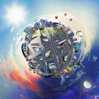 Mondo pieno di trasporti e attività commerciali