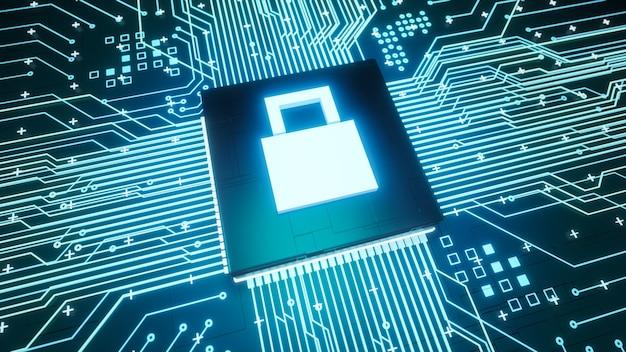 Blocca completamente il microchip del simbolo sul circuito della scheda madre all'interno dell'hardware del computer, la protezione dei dati digitali del rendering 3d e lo sfondo del concetto di sicurezza informatica