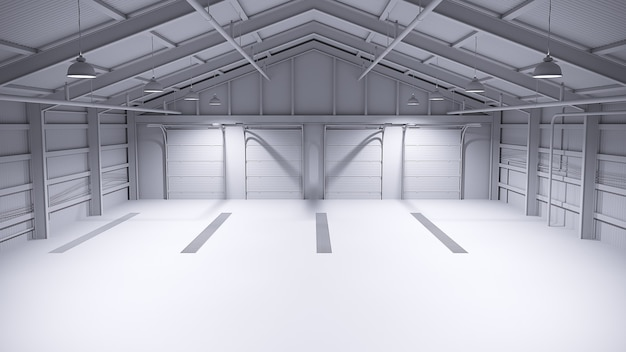 Magazzino vuoto completamente bianco con pavimento in cemento. illustrazione 3d