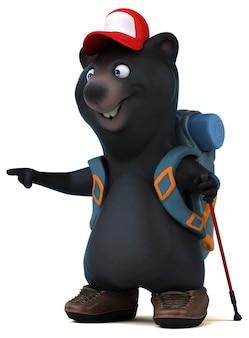 Divertente personaggio dei cartoni animati 3d orso zaino in spalla