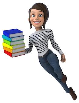 Divertente personaggio dei cartoni animati 3d casual donna