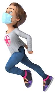 Adolescente divertente del fumetto 3d con una maschera