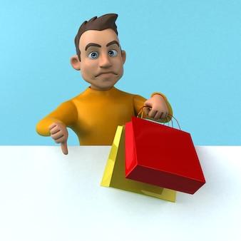 Divertente personaggio giallo dei cartoni animati in 3d