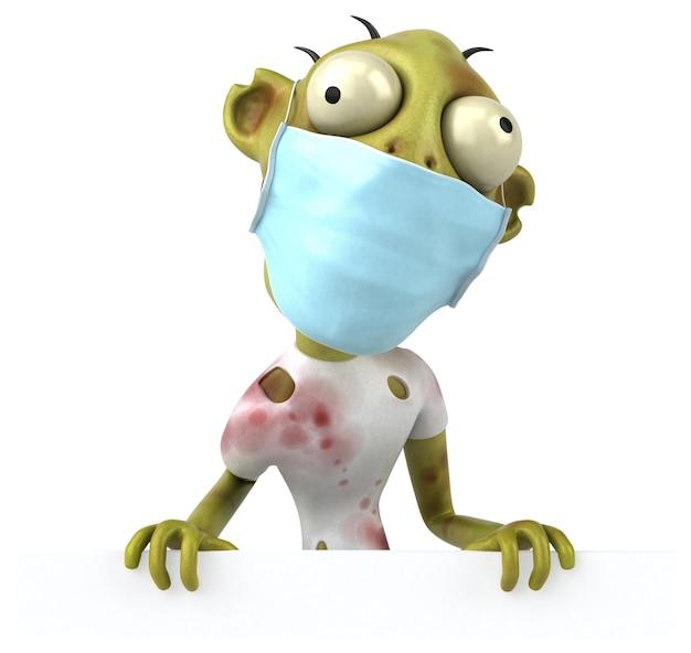 Divertente cartone animato 3d zombie con una maschera